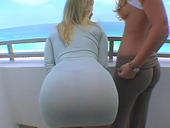 Big booty blondes have a threesome with a lucky dude
