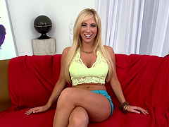 Horny blonde plays with herself before playing with a big cock
