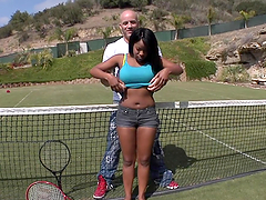 Thick ebony babe's nailed by a big cock after a tennis match