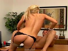 Blonde slut with big tits gets nailed hard