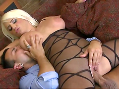 Dude with big dick makes a mess of cum on this blonde's big tits!