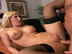 Dude fucks a bitch and shoots the jizz on her tits