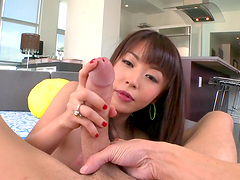 Asian cutie's fucked silly until her mouth's filled by cum
