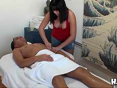 Asian masseuse gives a client more than just a massage