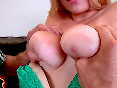 Horny blonde's fucked by a big cock after sucking on it