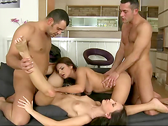 Slutty gals are fucked silly in a foursome