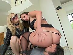 Big booty hotties have a threesome with a big fat cock