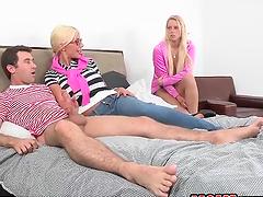 Two hotties share hard fuckin' dick