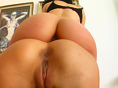 Cock thirsty babes are facialized after a foursome