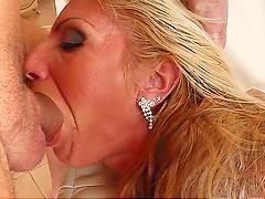 Horny blonde's gangbanged before getting bukkaked