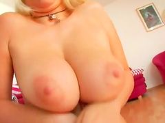Skanky blonde gets fucked in her holes and gets a mouthful