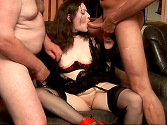 Horny brunette's covered by cum after a threesome with old men