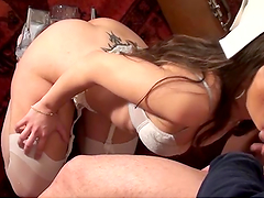 Sexy babe sucks on a big cock until is cums on her face