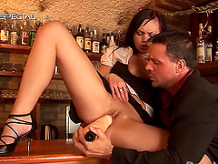 Barbara El Fire is fucked on a bar before being soaked in piss