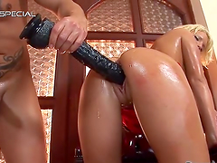 Horny blonde's masturbated before being drilled by a big cock