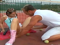 Sandy Joy is fucked on a tennis court by her coach