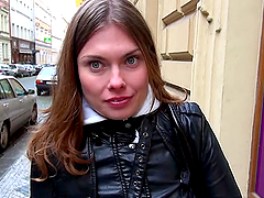 Irina takes off her clothes and has fun with a big cock