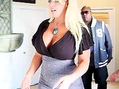 Interracial sex for the horny blonde milf Alysha Rylee