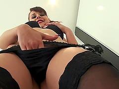 Leda fingers herself before being fucked wearing lingerie