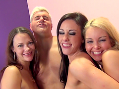 Horny ladies are fucked in hot group sex scene