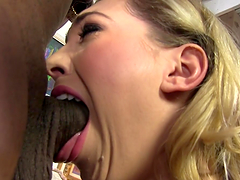 Lily Labeau deep throats a big black cock before being fucked