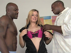 A busty blonde with a thirst for black men is about to get what she wants