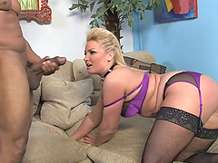 Dirty bitch takes on massive black cock