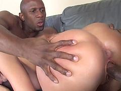 Nasty slut gets her holes stuffed with black cocks