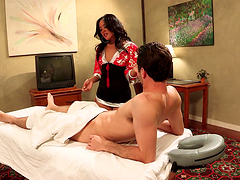 Rough sex with the horny brunette masseuse Kaylani Lei