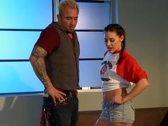 A horny slutty bitch sucks dick and gets nailed hard