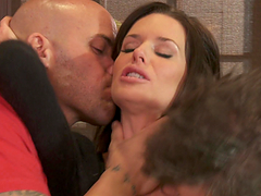 Threesome sex leaves Veronica Avluv covered by semen