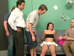 Slutty babe's gangbanged by guys cravingher pussy