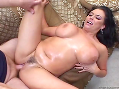 Anal sex leaves Angelica Sin filled by warm cum