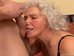 Busty granny's fucked silly while wearing stockings