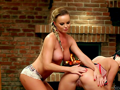 Horny lesbian bitches get freaky with toys