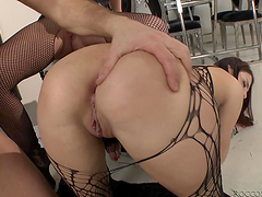 Rough threesome for slutty ladies with a big fat cock