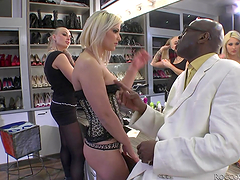 Blonde gets her pussy fucked by a black dude