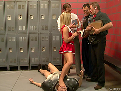 Blonde teen's gangbanged by guys in a locker room