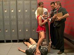 Blonde teen's gangbanged by guys in a locker room