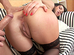 Slutty brunette gets her tight ass fucked hard by some fucker