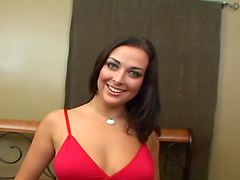 Rough threesome sex leaves Violet Marcell with a mouthful of cum