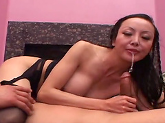 Rough anal sex with Ange Venus leaves her with a mouthful of cum