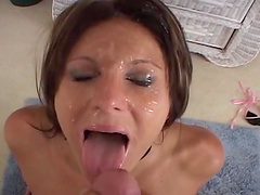 A messy facial for Jackie Moore after a hard fuck