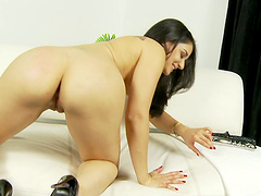 Sheena Ryder masturbates with her dildo in front of the camera
