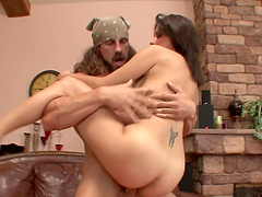 Slut gets her fuckin' pussy stuffed with hard cock