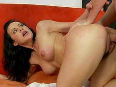 Great sex with the horny brunette Katie St. Ives
