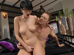 Anal sex leaves Emylia Argan with a mouthful of cum