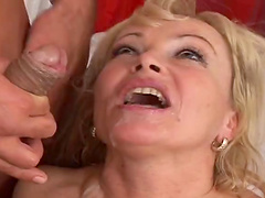 Mature blonde's fucked silly until her mouth's filled by cum