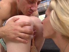 Horny blondes give you a boner as they have a threesome with a guy