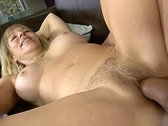 Horny guy fucks his girlfriend's mom as she watches